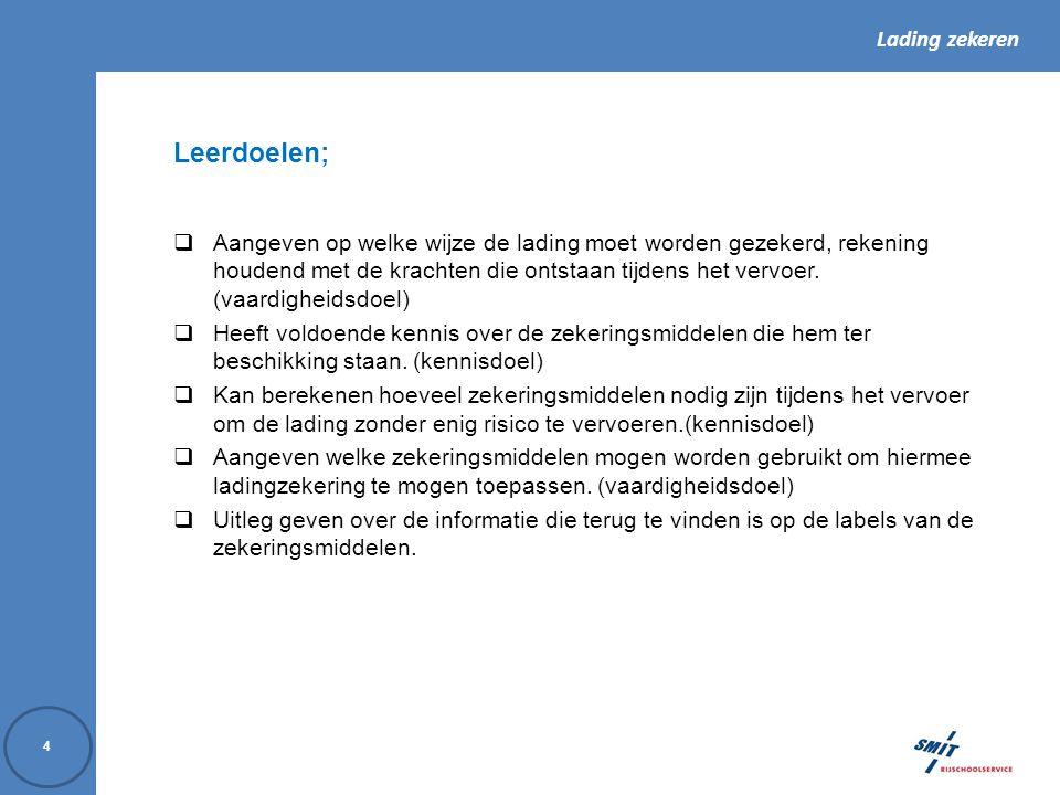 Lading zekeren 75 13.Vormen van ladingzekeren Welke middelen worden bij ladingzekeren toegepast.