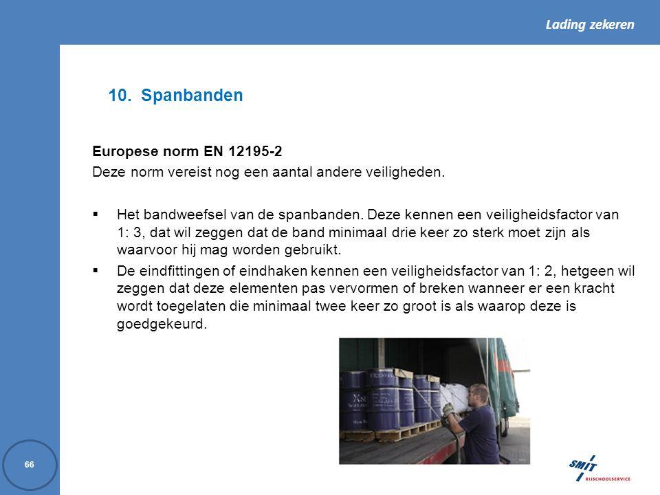 Lading zekeren 66 10.Spanbanden Europese norm EN 12195-2 Deze norm vereist nog een aantal andere veiligheden.  Het bandweefsel van de spanbanden. Dez
