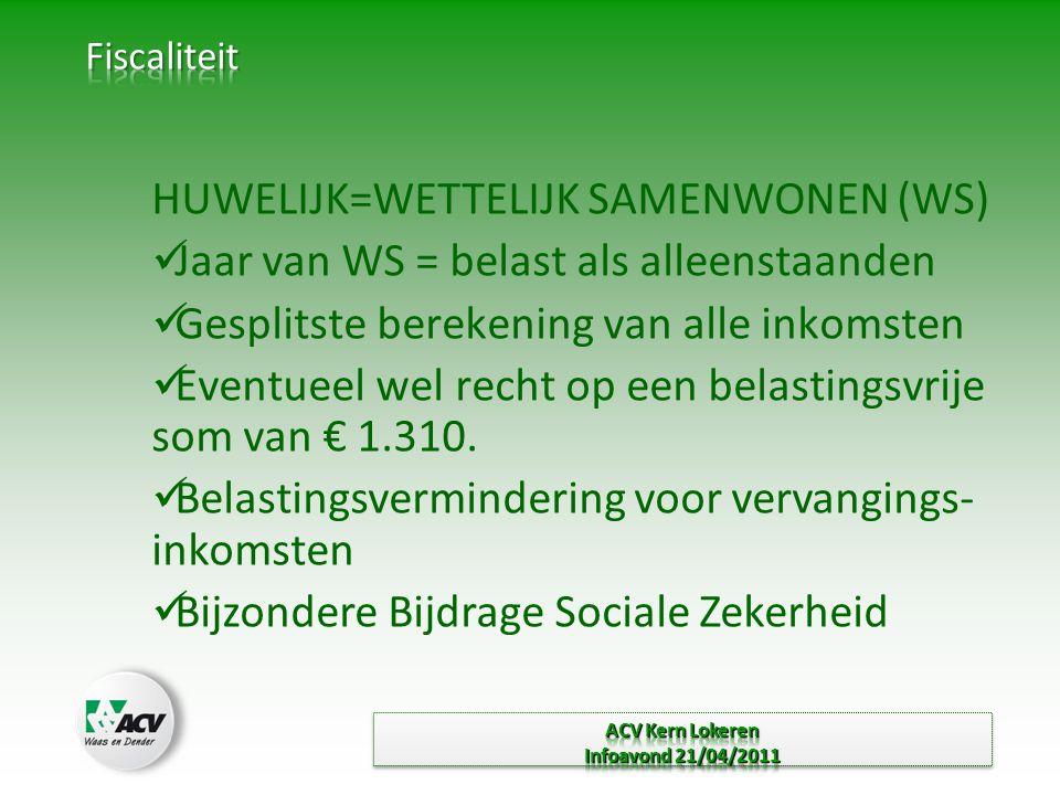 HUWELIJK=WETTELIJK SAMENWONEN (WS)  Jaar van WS = belast als alleenstaanden  Gesplitste berekening van alle inkomsten  Eventueel wel recht op een belastingsvrije som van € 1.310.