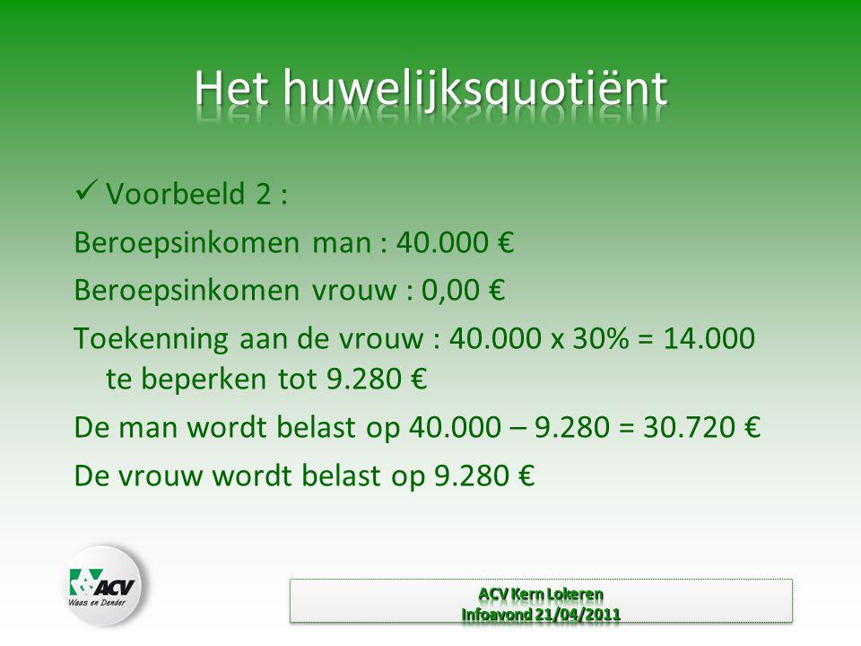  Voorbeeld 2 : Beroepsinkomen man : 40.000 € Beroepsinkomen vrouw : 0,00 € Toekenning aan de vrouw : 40.000 x 30% = 14.000 te beperken tot 9.280 € De man wordt belast op 40.000 – 9.280 = 30.720 € De vrouw wordt belast op 9.280 €