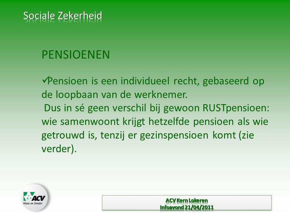 PENSIOENEN  Pensioen is een individueel recht, gebaseerd op de loopbaan van de werknemer.