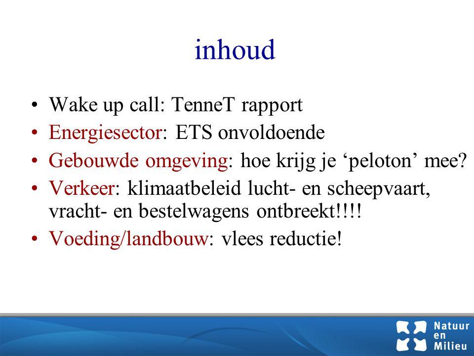 inhoud •Wake up call: TenneT rapport •Energiesector: ETS onvoldoende •Gebouwde omgeving: hoe krijg je 'peloton' mee.