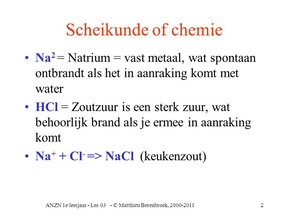 2 Scheikunde of chemie •Na 2 = Natrium = vast metaal, wat spontaan ontbrandt als het in aanraking komt met water •HCl = Zoutzuur is een sterk zuur, wa