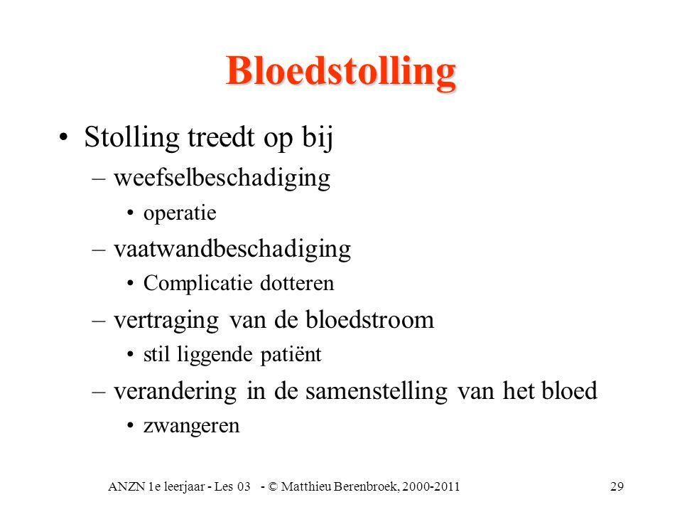 ANZN 1e leerjaar - Les 03 - © Matthieu Berenbroek, 2000-201129 Bloedstolling •Stolling treedt op bij –weefselbeschadiging •operatie –vaatwandbeschadig