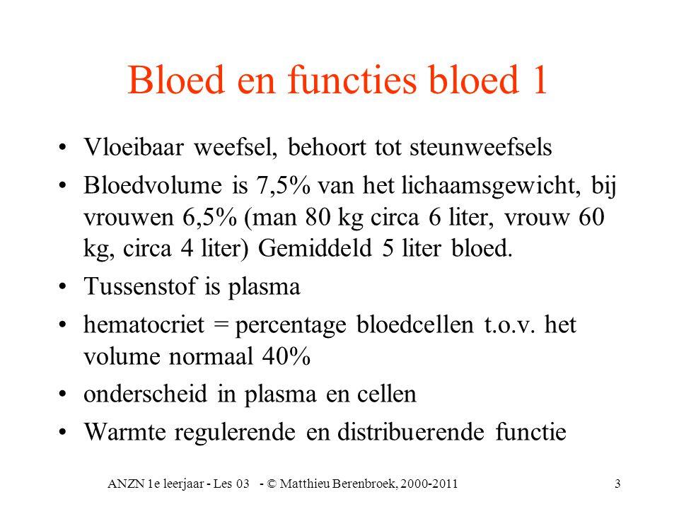 ANZN 1e leerjaar - Les 03 - © Matthieu Berenbroek, 2000-20113 Bloed en functies bloed 1 •Vloeibaar weefsel, behoort tot steunweefsels •Bloedvolume is