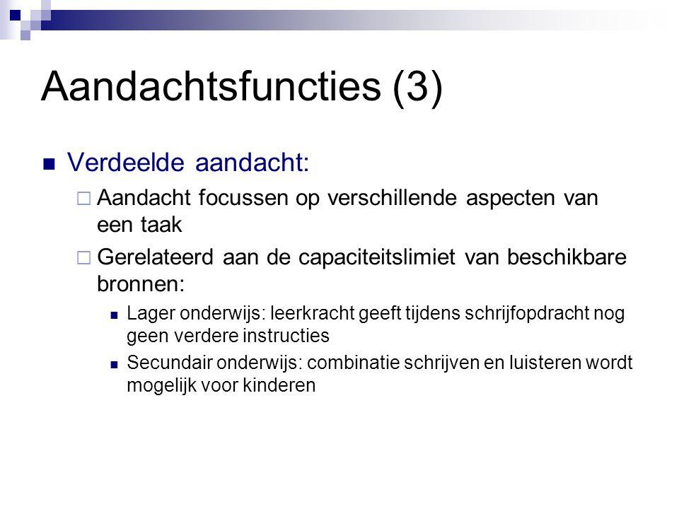 Aandachtsfuncties (3)  Verdeelde aandacht:  Aandacht focussen op verschillende aspecten van een taak  Gerelateerd aan de capaciteitslimiet van besc