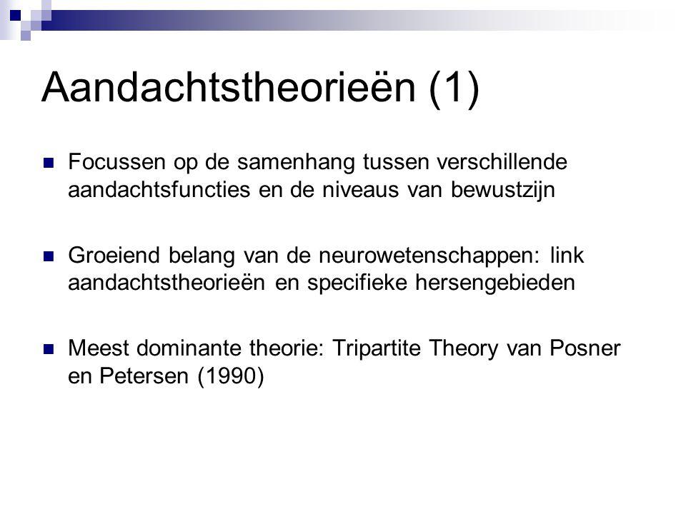 Aandachtstheorieën (1)  Focussen op de samenhang tussen verschillende aandachtsfuncties en de niveaus van bewustzijn  Groeiend belang van de neurowe