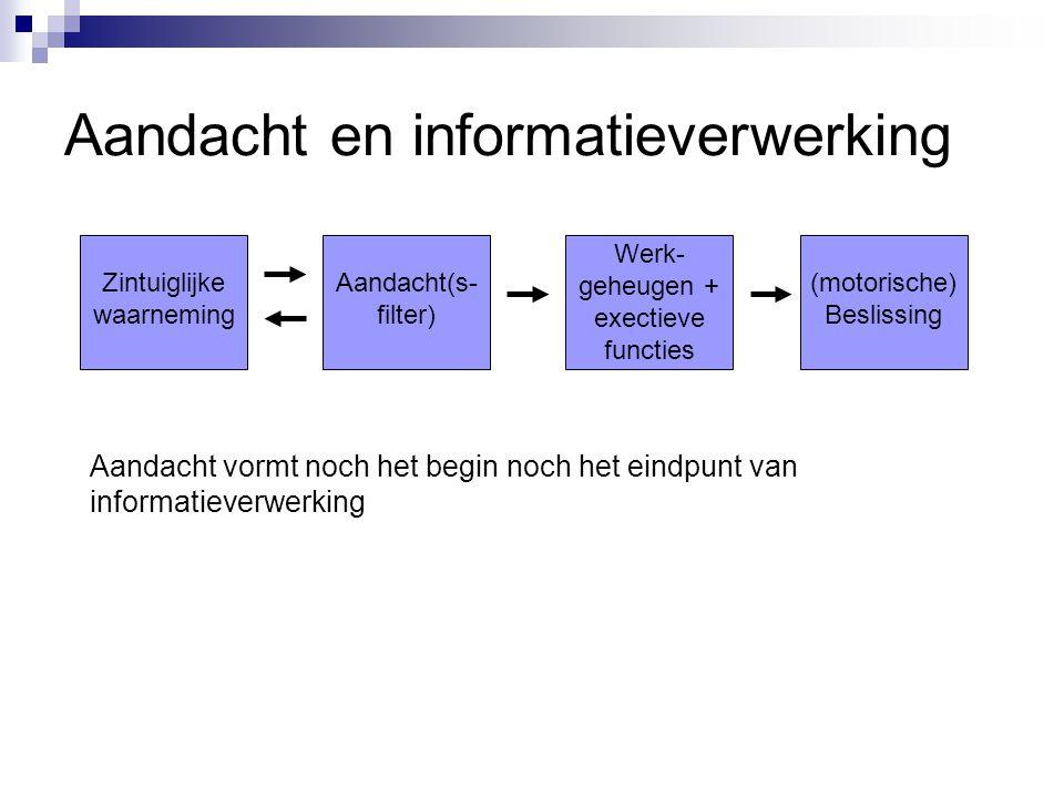 Aandacht en informatieverwerking Aandacht vormt noch het begin noch het eindpunt van informatieverwerking Zintuiglijke waarneming Aandacht(s- filter)