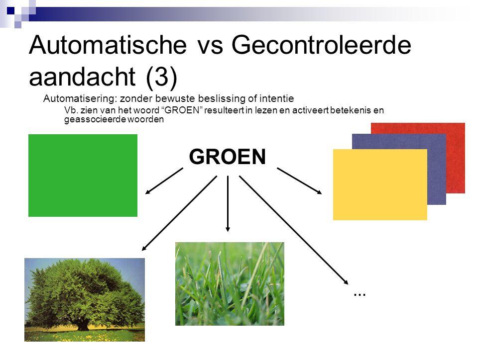 """Automatische vs Gecontroleerde aandacht (3) Automatisering: zonder bewuste beslissing of intentie Vb. zien van het woord """"GROEN"""" resulteert in lezen e"""