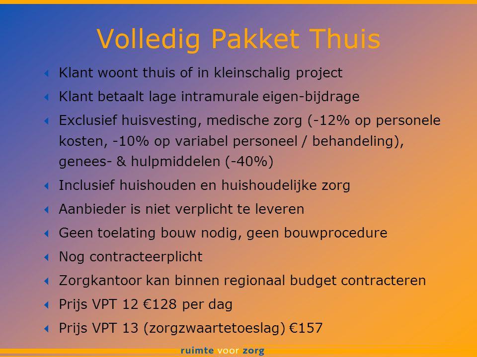 Volledig Pakket Thuis  Klant woont thuis of in kleinschalig project  Klant betaalt lage intramurale eigen-bijdrage  Exclusief huisvesting, medische