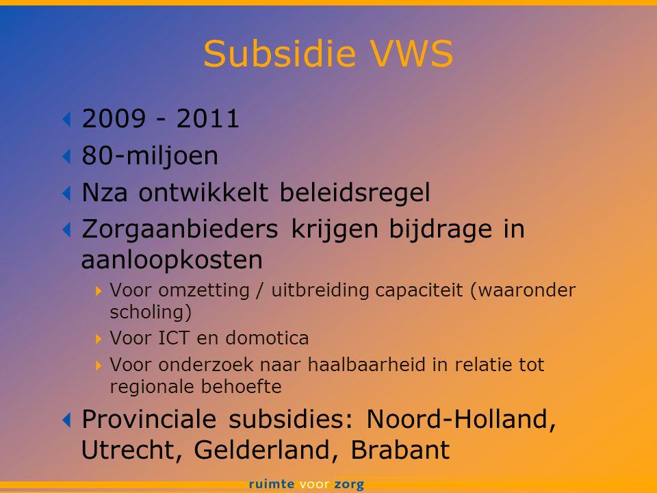 Subsidie VWS  2009 - 2011  80-miljoen  Nza ontwikkelt beleidsregel  Zorgaanbieders krijgen bijdrage in aanloopkosten  Voor omzetting / uitbreiding capaciteit (waaronder scholing)  Voor ICT en domotica  Voor onderzoek naar haalbaarheid in relatie tot regionale behoefte  Provinciale subsidies: Noord-Holland, Utrecht, Gelderland, Brabant