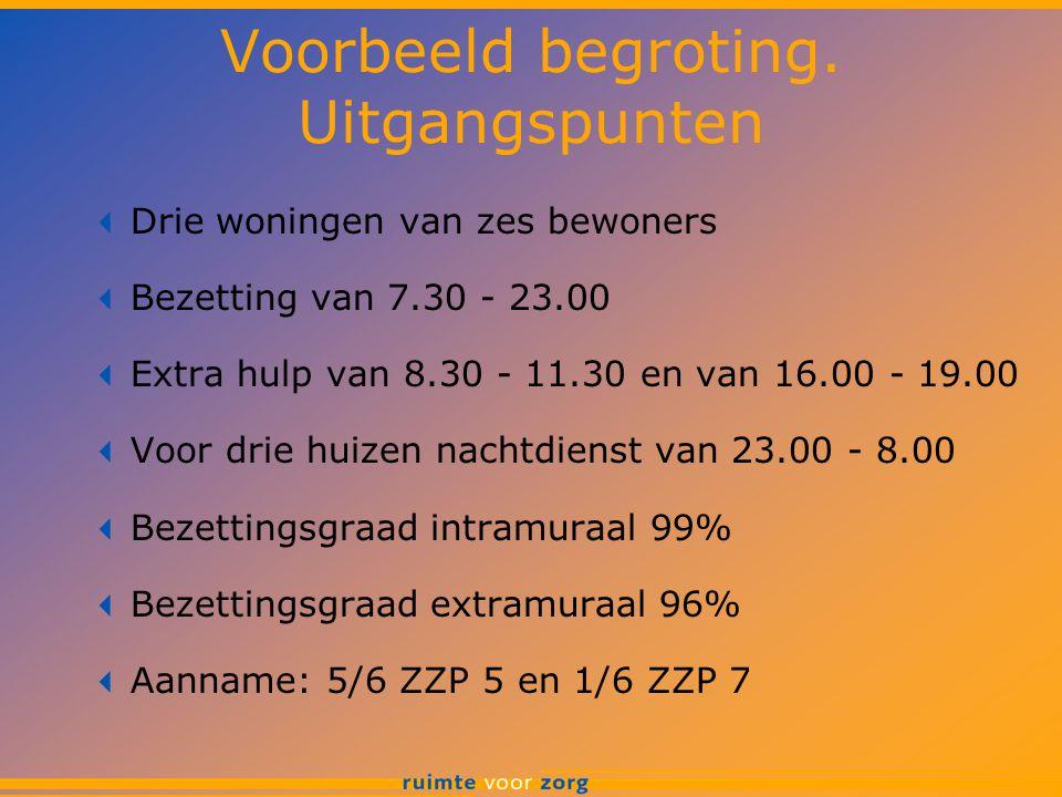 Voorbeeld begroting. Uitgangspunten  Drie woningen van zes bewoners  Bezetting van 7.30 - 23.00  Extra hulp van 8.30 - 11.30 en van 16.00 - 19.00 