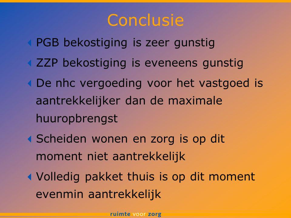 Conclusie  PGB bekostiging is zeer gunstig  ZZP bekostiging is eveneens gunstig  De nhc vergoeding voor het vastgoed is aantrekkelijker dan de maxi