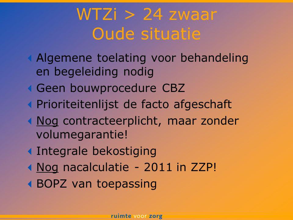 WTZi > 24 zwaar Oude situatie  Algemene toelating voor behandeling en begeleiding nodig  Geen bouwprocedure CBZ  Prioriteitenlijst de facto afgesch