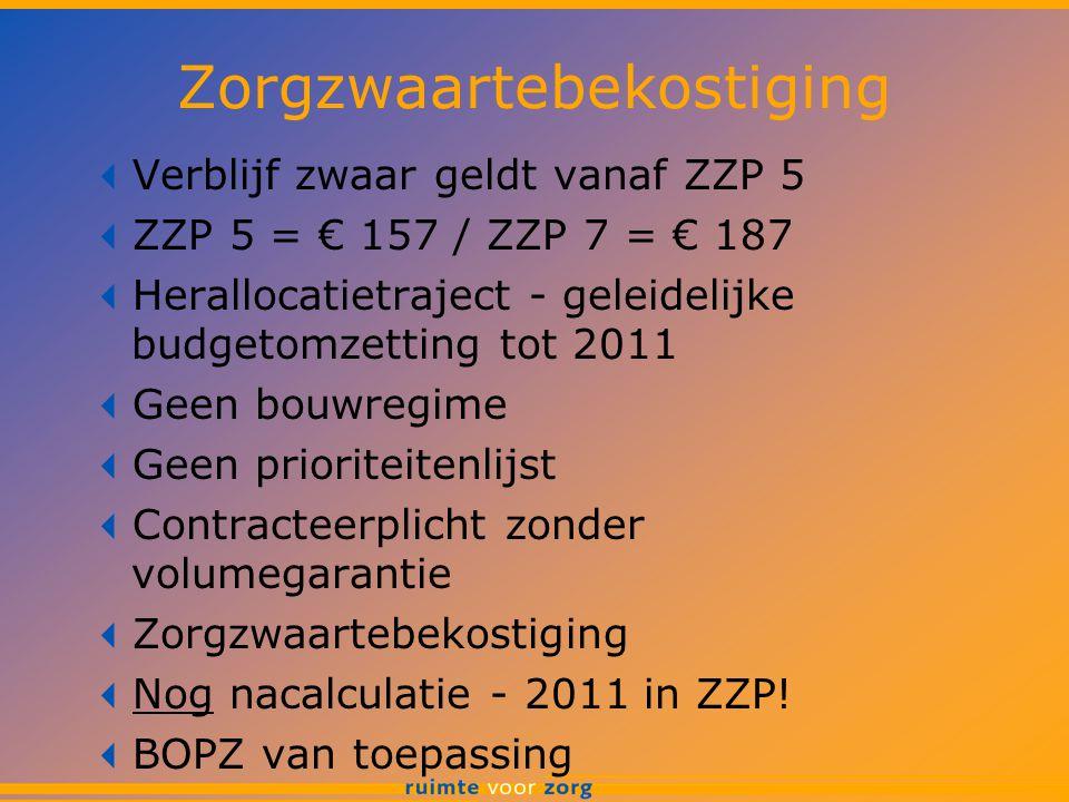 Zorgzwaartebekostiging  Verblijf zwaar geldt vanaf ZZP 5  ZZP 5 = € 157 / ZZP 7 = € 187  Herallocatietraject - geleidelijke budgetomzetting tot 201