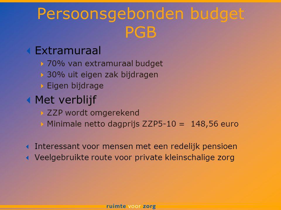 Persoonsgebonden budget PGB  Extramuraal  70% van extramuraal budget  30% uit eigen zak bijdragen  Eigen bijdrage  Met verblijf  ZZP wordt omger