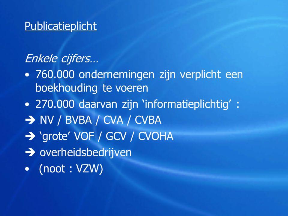 Publicatieplicht Enkele cijfers… •760.000 ondernemingen zijn verplicht een boekhouding te voeren •270.000 daarvan zijn 'informatieplichtig' :  NV / B