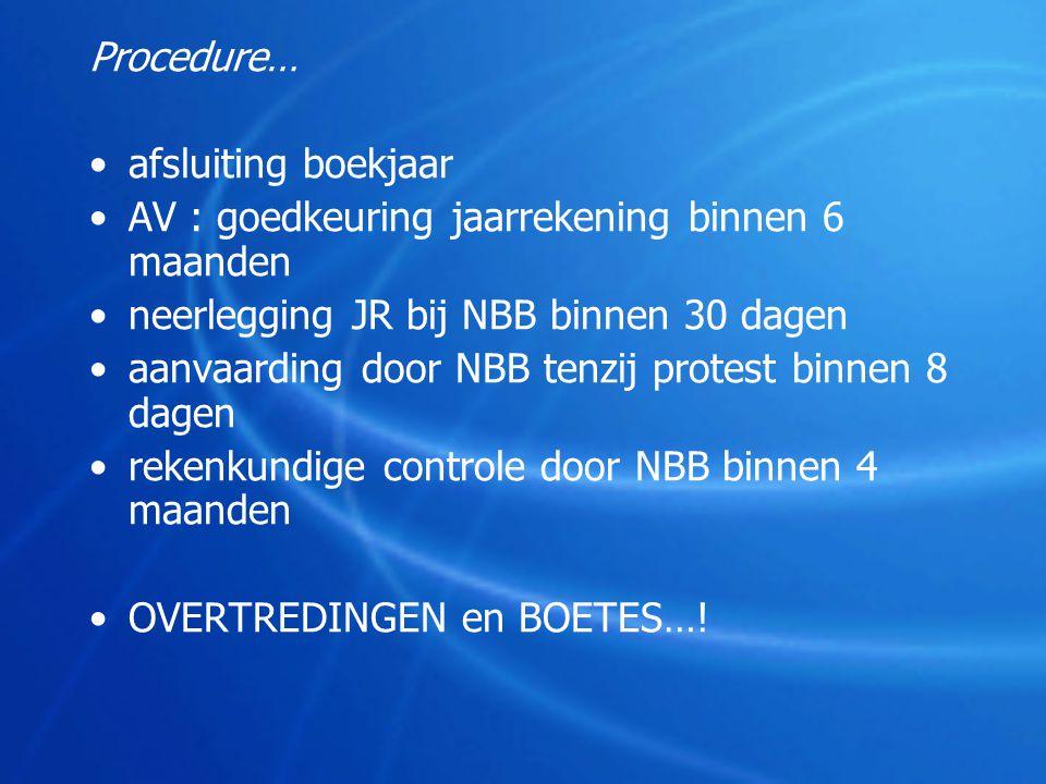 Procedure… •afsluiting boekjaar •AV : goedkeuring jaarrekening binnen 6 maanden •neerlegging JR bij NBB binnen 30 dagen •aanvaarding door NBB tenzij p
