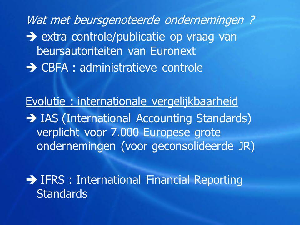 Wat met beursgenoteerde ondernemingen ?  extra controle/publicatie op vraag van beursautoriteiten van Euronext  CBFA : administratieve controle Evol