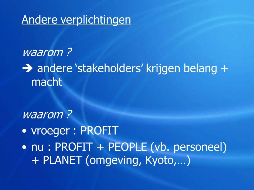 Andere verplichtingen waarom ?  andere 'stakeholders' krijgen belang + macht waarom ? •vroeger : PROFIT •nu : PROFIT + PEOPLE (vb. personeel) + PLANE