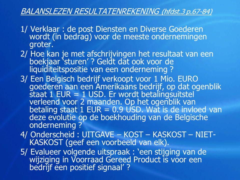 BALANSLEZEN RESULTATENREKENING (hfdst.3 p.67-84) 1/ Verklaar : de post Diensten en Diverse Goederen wordt (in bedrag) voor de meeste ondernemingen gro
