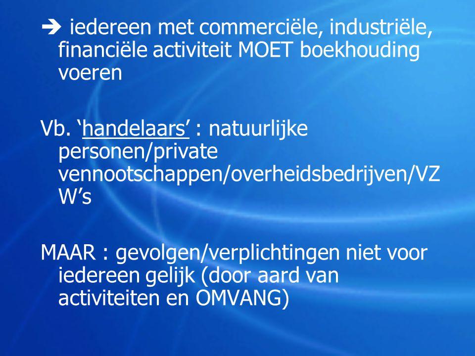  iedereen met commerciële, industriële, financiële activiteit MOET boekhouding voeren Vb. 'handelaars' : natuurlijke personen/private vennootschappen