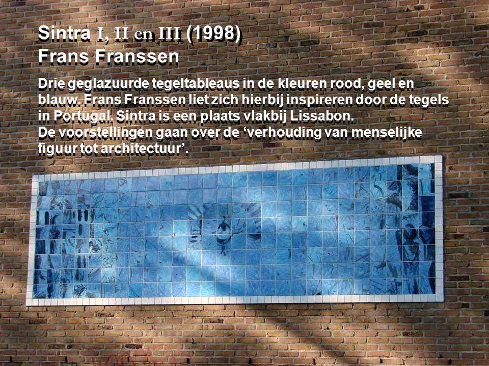 Sintra I, II en III (1998) Frans Franssen Drie geglazuurde tegeltableaus in de kleuren rood, geel en blauw.