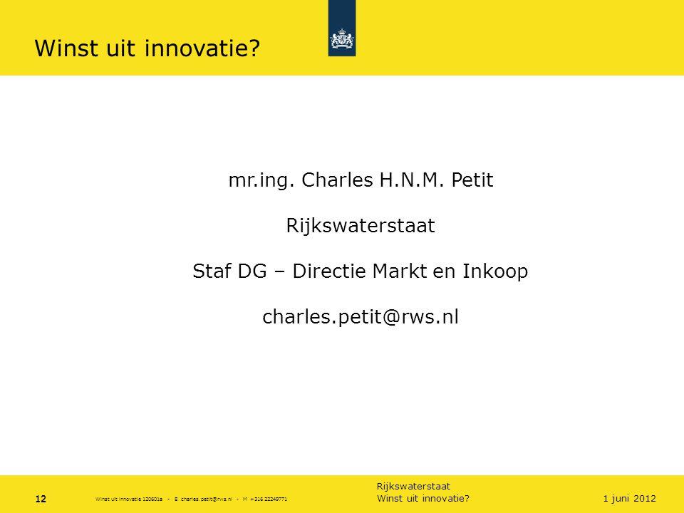 Rijkswaterstaat 12Winst uit innovatie? 12 1 juni 2012 Winst uit innovatie 120601a - E charles.petit@rws.nl - M +316 22249771 Winst uit innovatie? mr.i