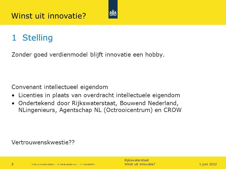 Rijkswaterstaat 2 1 Stelling Zonder goed verdienmodel blijft innovatie een hobby. Convenant intellectueel eigendom •Licenties in plaats van overdracht
