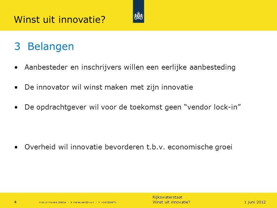 Rijkswaterstaat 4 3 Belangen •Aanbesteder en inschrijvers willen een eerlijke aanbesteding •De innovator wil winst maken met zijn innovatie •De opdrac