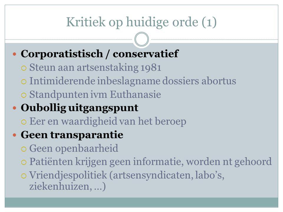 Kritiek op huidige orde (1)  Corporatistisch / conservatief  Steun aan artsenstaking 1981  Intimiderende inbeslagname dossiers abortus  Standpunte