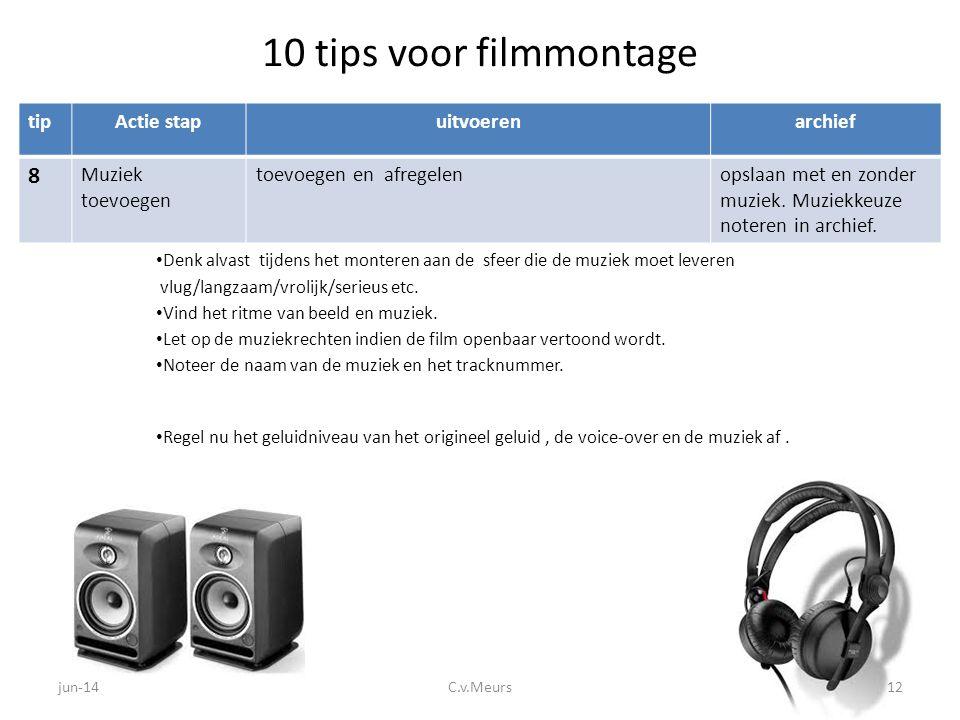 10 tips voor filmmontage tipActie stapuitvoerenarchief 8 Muziek toevoegen toevoegen en afregelenopslaan met en zonder muziek. Muziekkeuze noteren in a