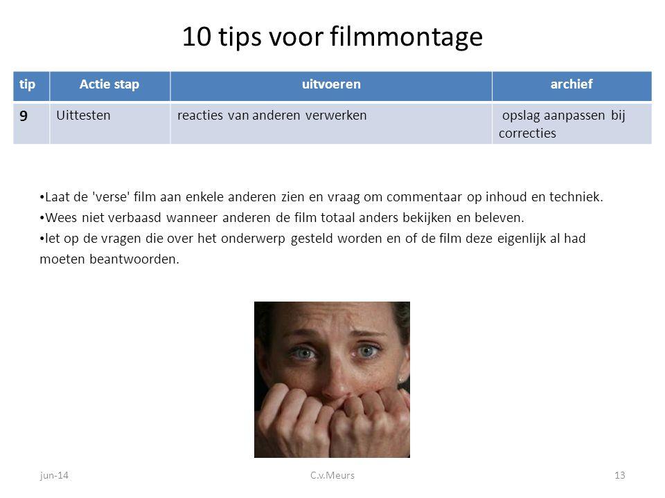 10 tips voor filmmontage tipActie stapuitvoerenarchief 9 Uittestenreacties van anderen verwerken opslag aanpassen bij correcties • Laat de 'verse' fil
