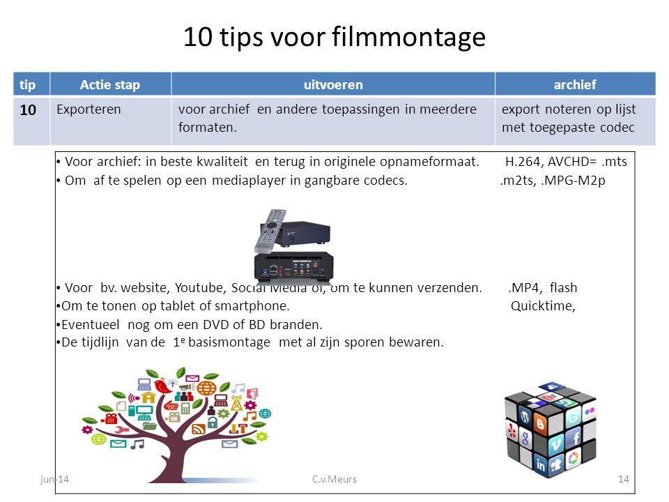 10 tips voor filmmontage tipActie stapuitvoerenarchief 10 Exporterenvoor archief en andere toepassingen in meerdere formaten. export noteren op lijst