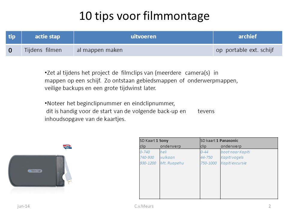 10 tips voor filmmontage tipactie stapuitvoerenarchief 0 Tijdens filmenal mappen makenop portable ext. schijf • Zet al tijdens het project de filmclip