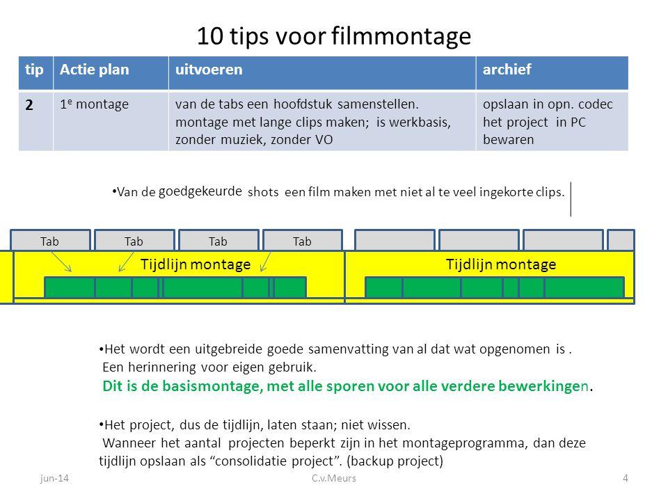 10 tips voor filmmontage tipActie stapuitvoerenarchief 3 registrerenNoteer, per tab, de belangrijkste clips met beoordeling wordt Excel archieflijst • Gebruik een vaste invullijst voor de informatie van de opnameclips.