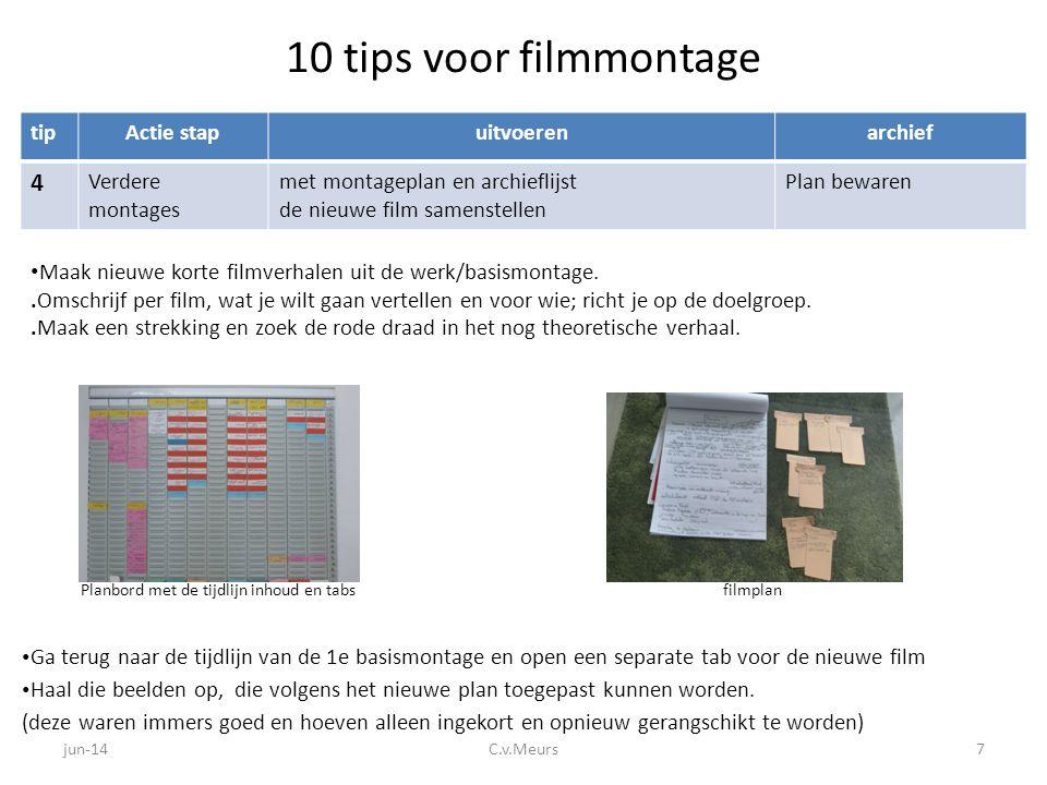 10 tips voor filmmontage tipActie stapuitvoerenarchief 4 Verdere montages met montageplan en archieflijst de nieuwe film samenstellen Plan bewaren • G