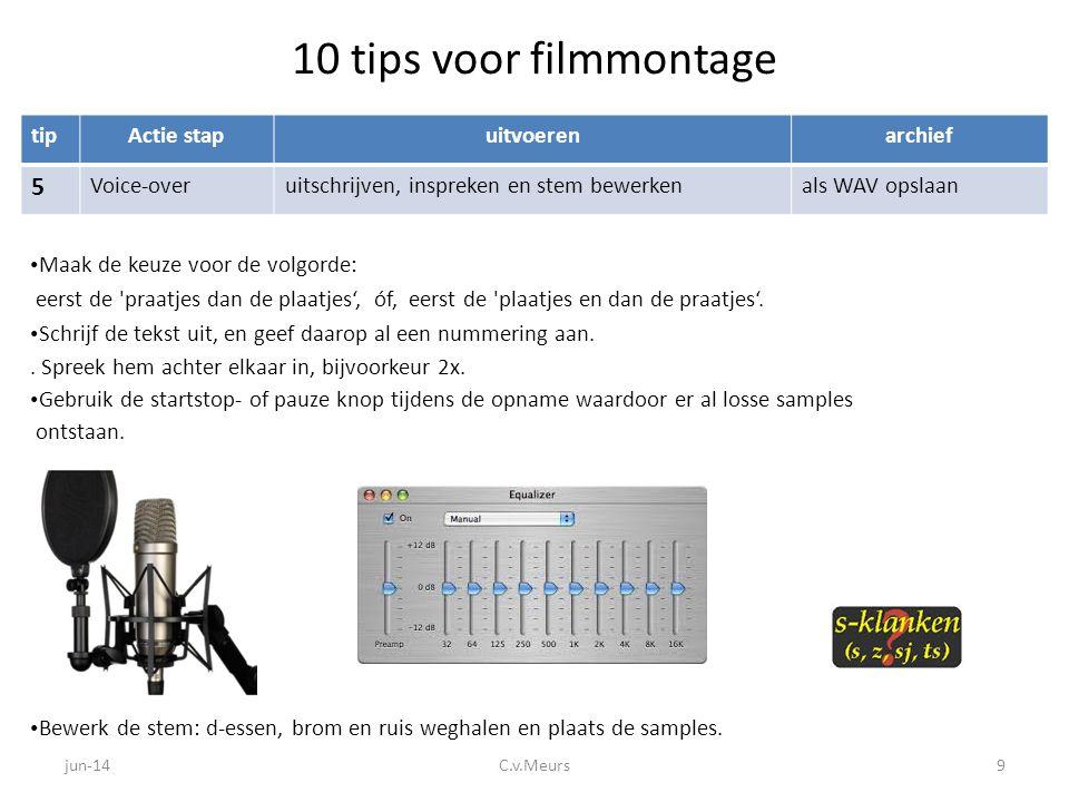 10 tips voor filmmontage tipActie stapuitvoerenarchief 6 TekstenBegin- en eindtitel; eventueel ondertitelalles noteren op archieflijst • Voeg begin- en eindtitel toe in de zelfde kleur en font en misschien is het nodig om te ondertitelen.