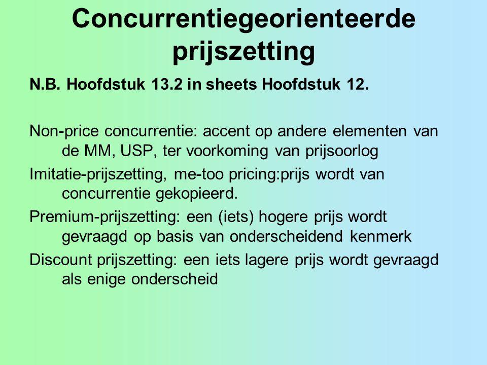 Concurrentiegeorienteerde prijszetting N.B. Hoofdstuk 13.2 in sheets Hoofdstuk 12. Non-price concurrentie: accent op andere elementen van de MM, USP,