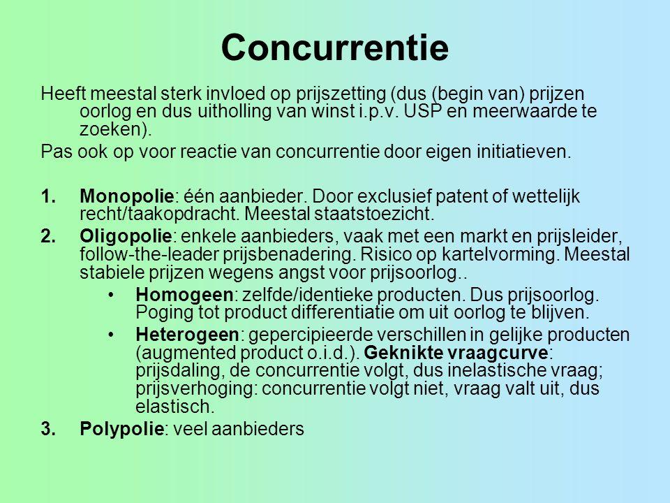 Concurrentie Heeft meestal sterk invloed op prijszetting (dus (begin van) prijzen oorlog en dus uitholling van winst i.p.v. USP en meerwaarde te zoeke