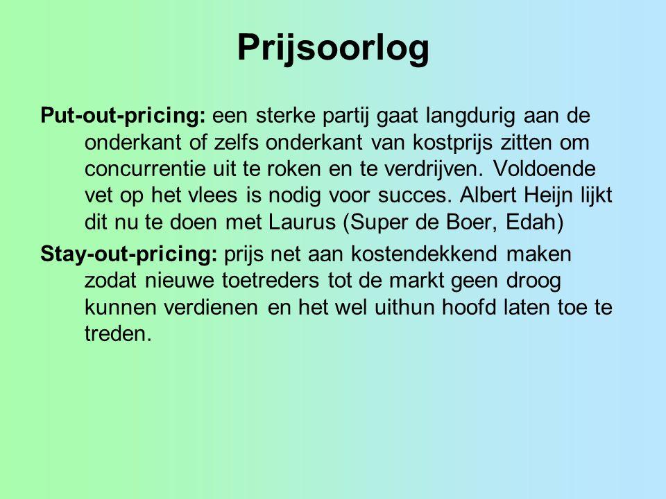 Prijsoorlog Put-out-pricing: een sterke partij gaat langdurig aan de onderkant of zelfs onderkant van kostprijs zitten om concurrentie uit te roken en