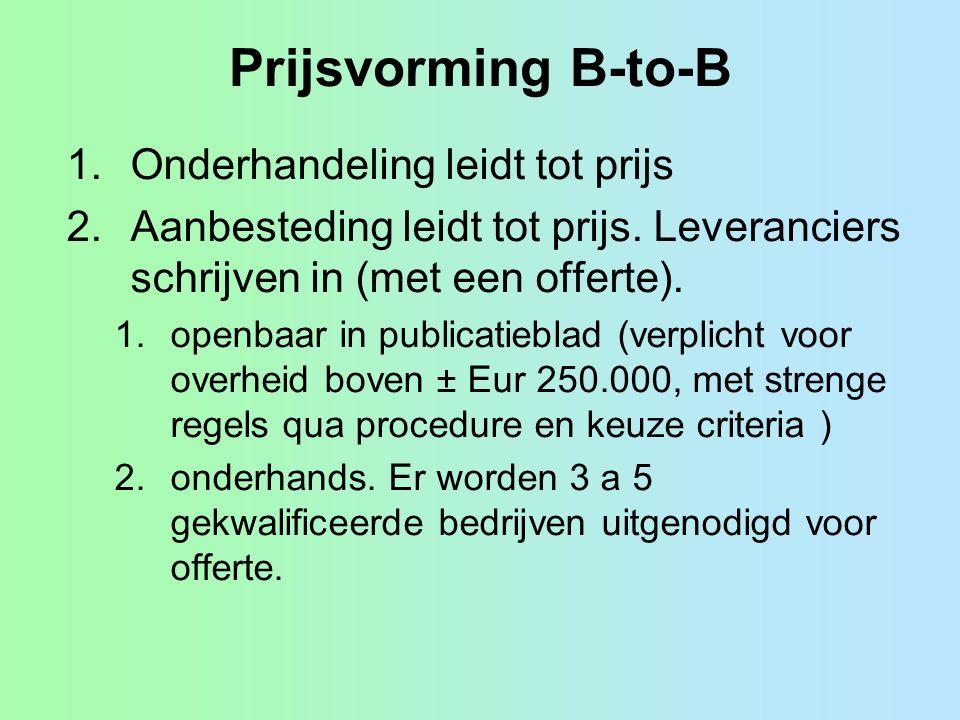 Prijsvorming B-to-B 1.Onderhandeling leidt tot prijs 2.Aanbesteding leidt tot prijs. Leveranciers schrijven in (met een offerte). 1.openbaar in public