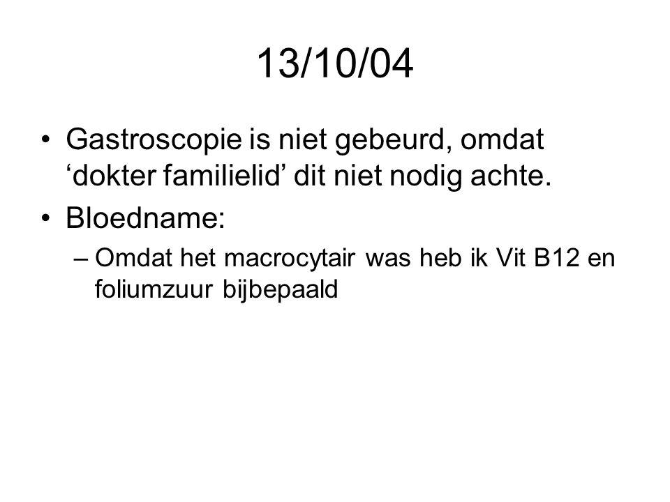 13/10/04 •Gastroscopie is niet gebeurd, omdat 'dokter familielid' dit niet nodig achte. •Bloedname: –Omdat het macrocytair was heb ik Vit B12 en foliu