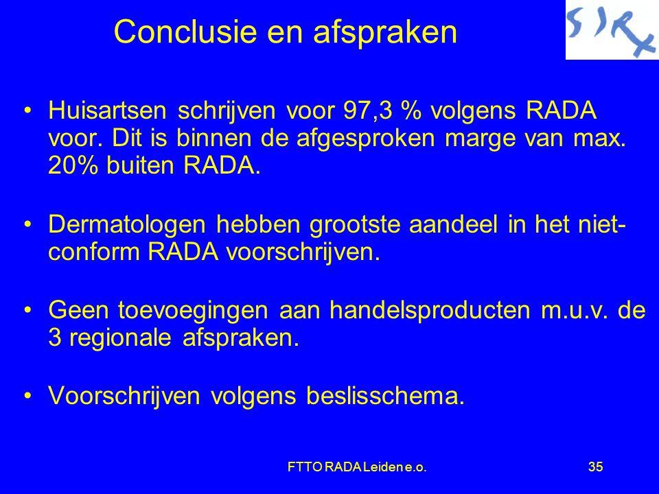 FTTO RADA Leiden e.o.35 Conclusie en afspraken •Huisartsen schrijven voor 97,3 % volgens RADA voor.