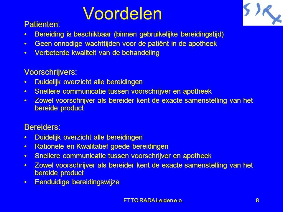 FTTO RADA Leiden e.o.29 Voorschrijfcijfers (voorbeeld)  Analyse in twee gedeelten  juli 2003 tot en met december 2003  januari 2004 tot en met april 2004  1-1-2004 toepassing RADA in Apotheek