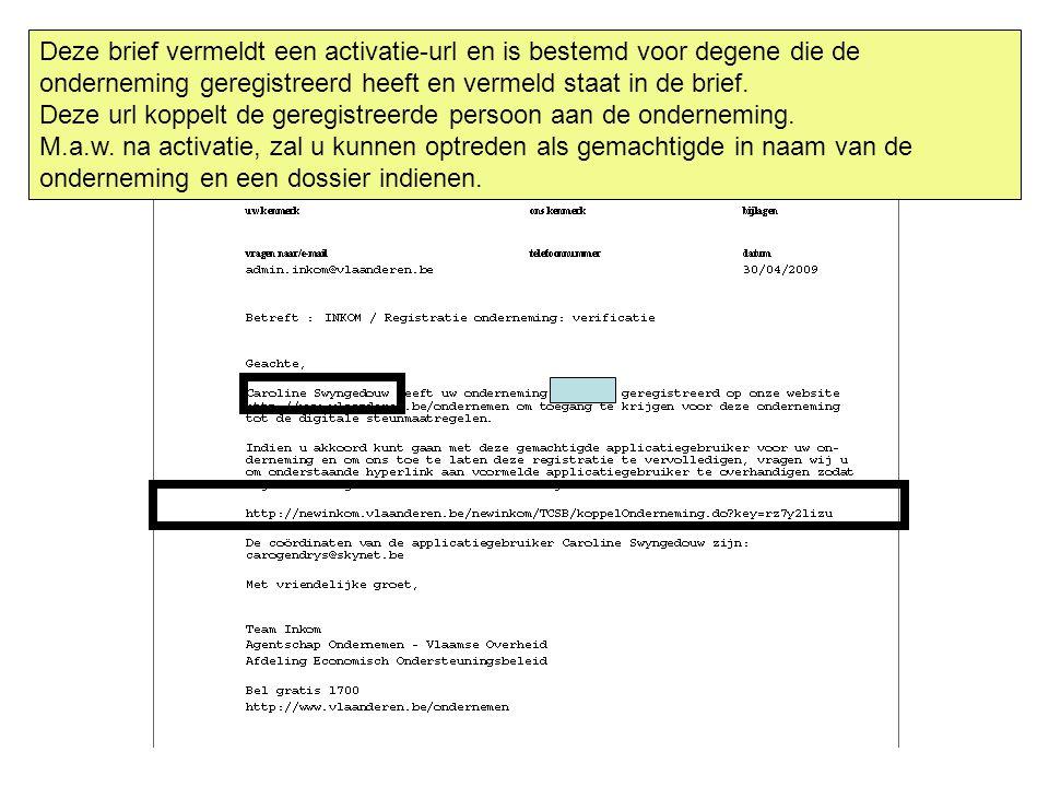 Deze brief vermeldt een activatie-url en is bestemd voor degene die de onderneming geregistreerd heeft en vermeld staat in de brief. Deze url koppelt