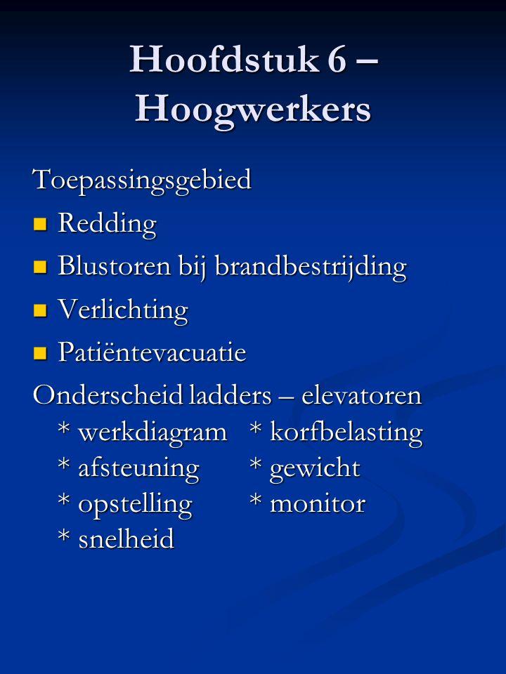 Hoofdstuk 6 – Autoladders Algemeen Normering  Belgische Norm S21-035  Karakteristieken van de genormeerde autoladders  Types * zonder korf * met korf * met knikarm * met knik-en telescooparm