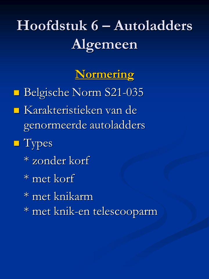 Hoofdstuk 6 – Autoladders Algemeen Normering  Belgische Norm S21-035  Karakteristieken van de genormeerde autoladders  Types * zonder korf * met ko