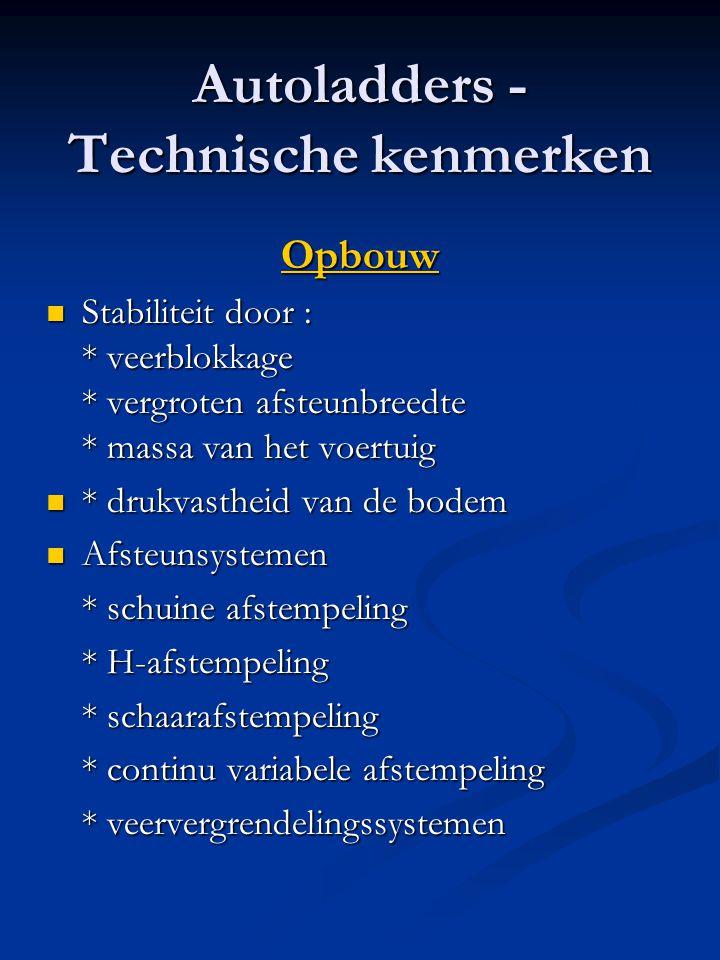 Autoladders - Technische kenmerken Opbouw  Stabiliteit door : * veerblokkage * vergroten afsteunbreedte * massa van het voertuig  * drukvastheid van