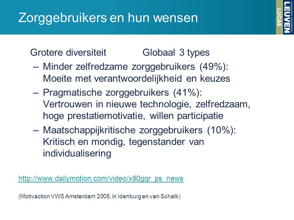 Grotere diversiteit Globaal 3 types –Minder zelfredzame zorggebruikers (49%): Moeite met verantwoordelijkheid en keuzes –Pragmatische zorggebruikers (